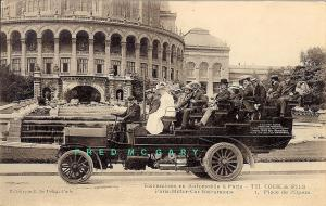 1910 Paris France Postcard: Excursionists on Autobus at Place de l'Opera