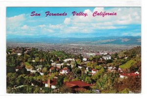 San Fernando Vallery Aerial View from Hollywood Hills California Vntg Postcard