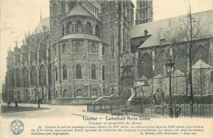Belgium Tournai Notre Dame cathedral postcard