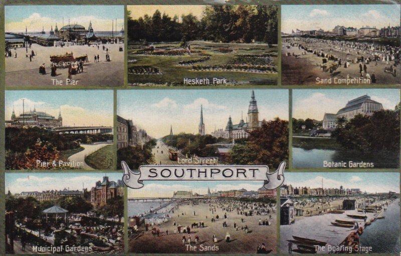 SOUTHPORT, England, PU-1912; 9-Views, The Pier, Hesketh Park, Pier And Pavili...