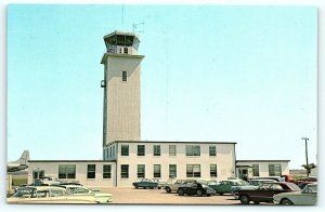 Postcard DE Dover Control Tower Dover Air Force Base 1950's Old Cars