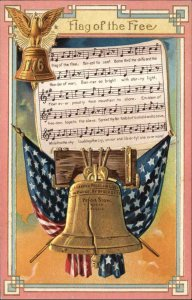 US Patriotic Sheet Music Liberty Bell FLAG OF THE FREE c1910 Embossed Postcard