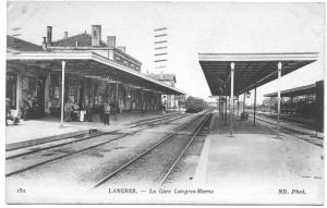 France Langres LeGare Langres-Marne RailRoad Station Train Depot Postcard