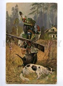 159592 HUNT Dressed DACHSHUND Hunter Gun & CAT by MULLER old