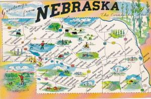 Greetings From Nebraska With Map 1963