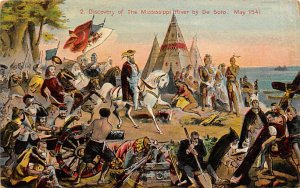 Pilgrim Post Card De Soto's Discovery of the Mississippi River, May 1541...