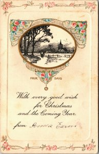 TUCK 5039 FAIR DAYS Merry Christmas Happy New Year POSTCARD PC VINTAGE POSTED