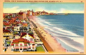 New Jersey Atlantic City General View Of Boardwalk and Beach From Ventnor Pier
