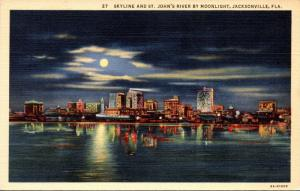 Florida Jacksonville Skyline and St John's River By Moonlight 1945 Curteich