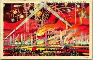 1939 NEW YORK WORLD'S FAIR Postcard Night View of Lagoon of Nations Linen