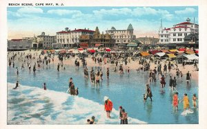 Beach Scene, Cape May, New Jersey, Early Postcard, Unused