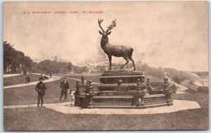 Milwaukee, Wisconsin Postcard Elk Monument, JUNEAU PARK c1910s