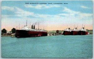 Ludington, Michigan Postcard Pere Marquette Carferry Dock KROPP Linen c1940s