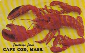 Massachusetts Cape Cod Greetings From Showing 14 Pound Lobster 1965