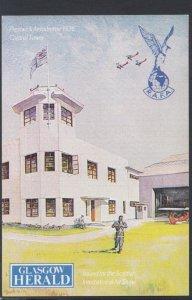 Aviation Postcard - Prestwick Aerodrome 1936 Control Tower, Glasgow Herald DC...