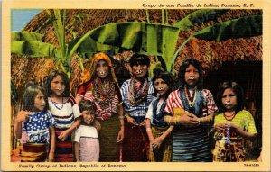Vintage PANAMA Postcard Group of Indians on Tigre Island Women Linen c1940s