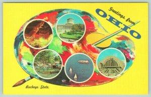 Ohio~Buckeye State Artist Palette Greetings~Goodyear Blimp~Toledo Zoo~1963 PC