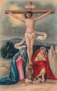 EASTER, PU-1910; Greeting, Jesus Christ on Cross, Women crying at his feet