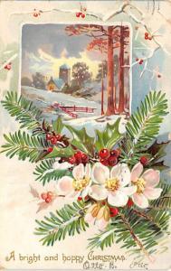Christmas Post Card Old Vintage Antique Xmas Postcard Damaged