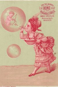 TC: ACME Soap & Niagra Starch, 1890s, girl blowing bubbles