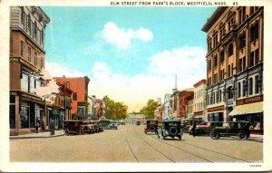 Massachusetts Westfield Elm Street From Park's Block 1938 Curteich