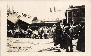 F99/ Palo Iowa RPPC Postcard 1910 Green Mountain Railroad Wreck Disaster