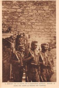 Italian Military Walking Down Stairs Antique Postcard J73444