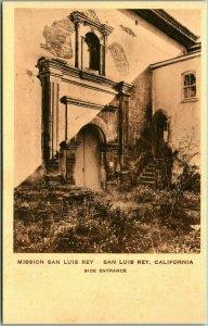 Oceanside, California Postcard MISSION SAN LUIS REY - Side Entrance Albertype