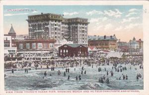 New Jersey Atlantic City View From Youngs Ocean Pier Showing Beach And Hotels...