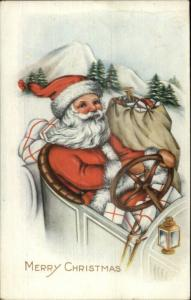 Christmas - Santa Claus Driving Car Wrapped Gifts c1915 Whitney Postcard