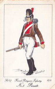 French Portuguese Infantry Private Napoleonic War Soldier Military Postcard