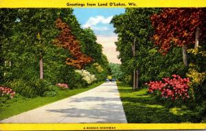 Wisconsin Greetings from Land O'Lakes 1948