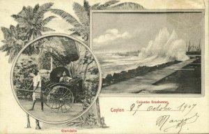 ceylon, COLOMBO, Breakwater, Pulled Rickshaw (1907) Multiview Postcard