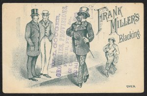 VICTORIAN TRADE CARD Frank Millers Blacking Fancy Dressed Black Man Hat & Cane