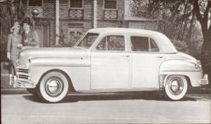 1949 Plymouth 4 Door Sedan Promo Advertising Postcard