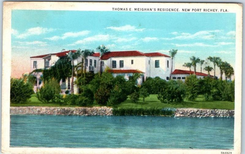 New Port Richey, Florida Postcard Thomas E. Meighan's Residence c1940s Unused