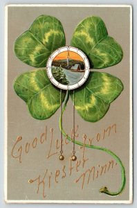 Good Luck from Kiester Minnesota~Shamrock Clock~Winter Scene~Embossed~1908