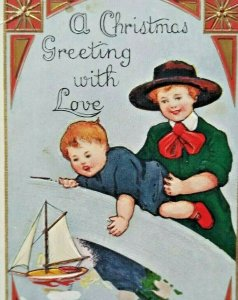 Vintage Christmas Postcard Children Sailing Boat Ship Whitney Embossed 1914