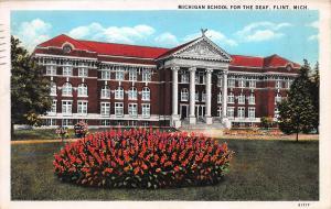 Michigan School for the Deaf, Flint, Michigan, Early Postcard, Used in 1931