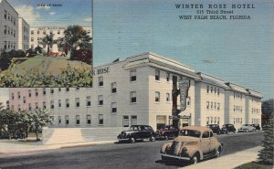 Winter Rose Hotel, West Palm Beach, Florida, early linen postcard, Used