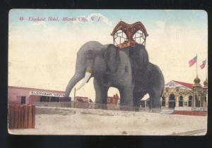 ATLANTIC CITY NEW JERSEY ELEPHANT HOTEL VINTAGE ADVERTISING POSTCARD N.J.