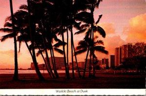 Hawaii Waikiki Beach At Dusk