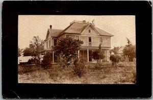 Vintage RPPC Real Photo Postcard House View w/ 1909 SYLVIA, KANSAS Cancel