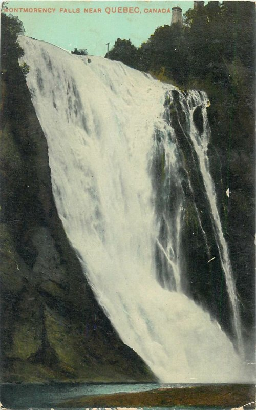 Postcard Canada quebec montmorency falls water nature waterfall