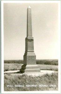 REPUBLIC, Kansas RPPC Real Photo Postcard PIKE-PAWNEE MONUMENT - Dated 1953