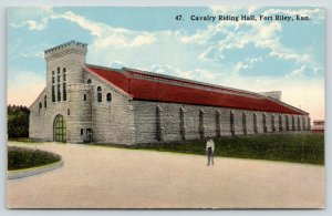 Fort Riley Kansas~Cavalry Riding Hall~Castle~Fellow on Path~c1910 Postcard