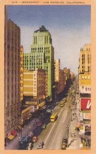 Broadway, Showing Texaco & Many More Buildings, Los Angeles, California, PU...