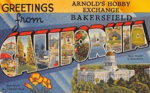 Bakersfield California Large Letter Linen Antique Postcard K102247