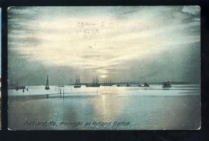 Portland, Maine/ME Postcard, Moonlight On Portland Harbor, 1908!