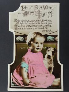 c1930's BABY AND SMALL DOG Cut Out Numeral BABY'S 1st Birthday Postcard